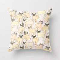 pugs Throw Pillows featuring Pugs by Sian Keegan