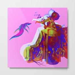 Diabolical Bird en Rose Metal Print