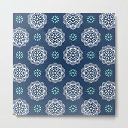 Mandala Mindfulness - Blue Metal Print