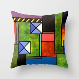 The Garden and the Blue Roofs Throw Pillow