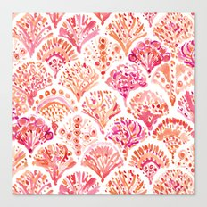CORAL CAMO Mermaid Watercolor Fish Scales Canvas Print