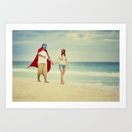 mexican luchadores on honey moon Art Print