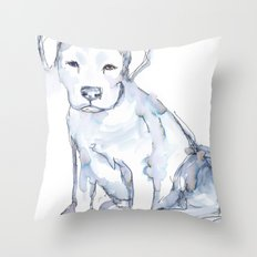 Pit Bull Puppy (for Kerry), watercolor Throw Pillow