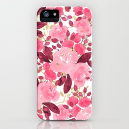 Burgundy Gold Pink Watercolor Roses Flowers iPhone Case