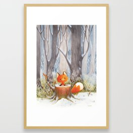 Little fox in the snow Framed Art Print