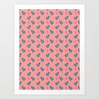 Spring Trees Pattern - Salmon Art Print