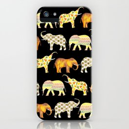 Happy elephants black version iPhone Case