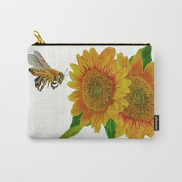 Summer Bee Yellow Sunflower Painting Carry-All Pouch