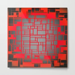 Red & Grey Geometric Design Metal Print