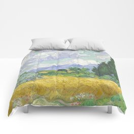 A Wheatfield with Cypresses by Vincent van Gogh Comforters