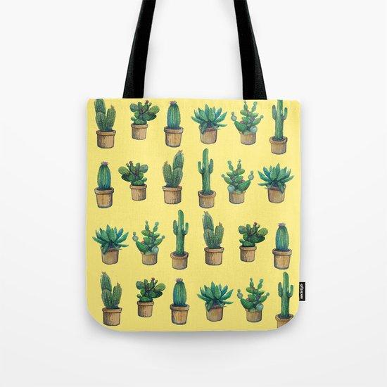 cactus on yellow Tote Bag