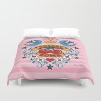 rockabilly Duvet Covers featuring Rockabilly Style No.2 by nice illus