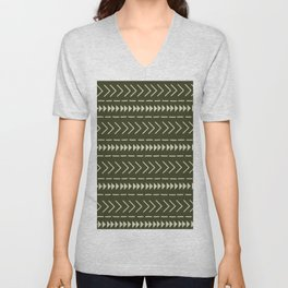 Mudcloth Forest Green Unisex V-Neck
