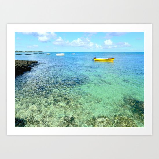 Exotic Blue Lagoon Indian Ocean Coral Reef Seascape Art Print