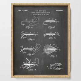 Fly Fishing Patent - Fisherman Art - Black Chalkboard Serving Tray