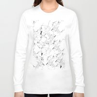 white marble Long Sleeve T-shirts featuring Marble by Make-Ready