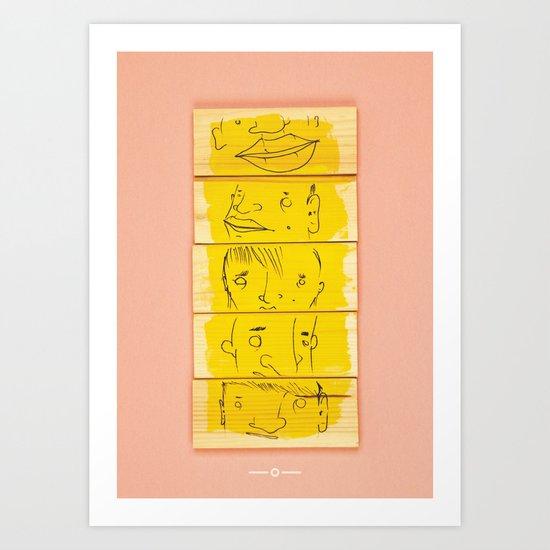Wooden Faces Art Print