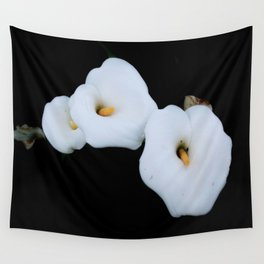Three Calla Lilies Isolated On A Black Background Wall Tapestry