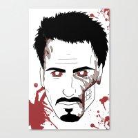 robert downey jr Canvas Prints featuring Zombie Robert Downey Jr. by Roman Jones