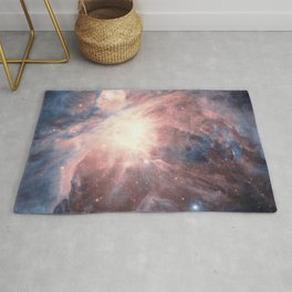 Iridescent Orion Nebula, Constellation in Blue Blush Teal Rug
