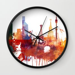 Moscow Watercolor Skyline Wall Clock