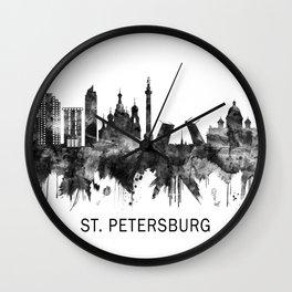 St. Petersburg Russia Skyline BW Wall Clock
