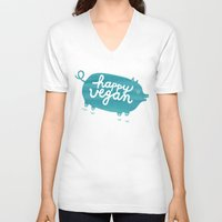 vegan V-neck T-shirts featuring Happy Vegan by Anke Weckmann