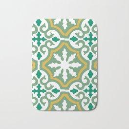 Moroccan Mosaic Tile Pattern Green Yellow Bath Mat