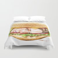 burger Duvet Covers featuring Burger by Creadoorm