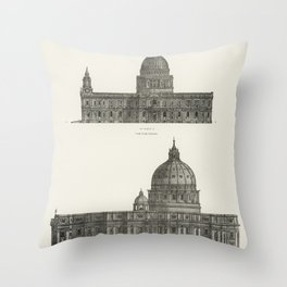 Architecture St Paul and St Peters Cathedral from the book Encyclopaedia Britannica 9th edition (1875)  of the famous religious British landmark Throw Pillow
