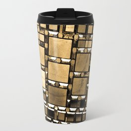 Sepia Abstract Geometric Shapes Decorative Mirror Print Travel Mug