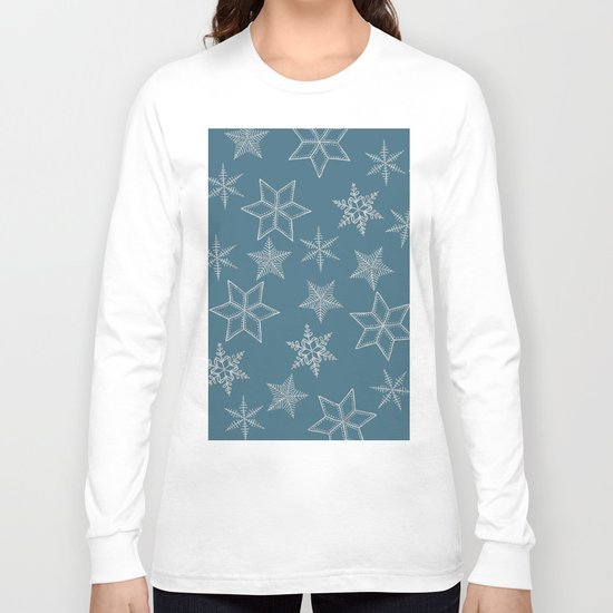 Silver Snowflakes On Teal Background Long Sleeve T-shirt