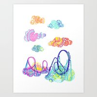 coasters Art Prints featuring We'll see you in style, riding rainbow roller-coasters in the sky. by Jenny Robins