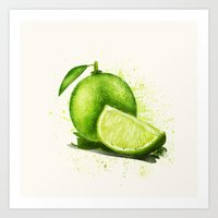 lime Art Prints featuring lime by Zazie-bulles