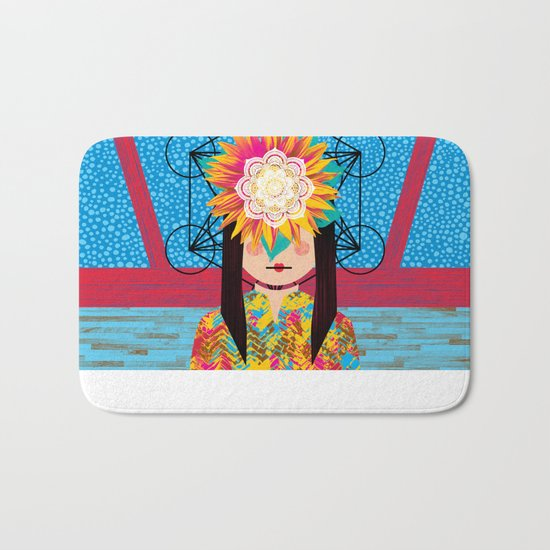 Sunflower Girl Bath Mat