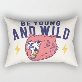 Cool Vintage Quote Be Young and Wild Bear Rectangular Pillow