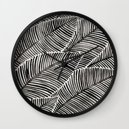 Tropical Palm Leaves – Black Palette Wall Clock