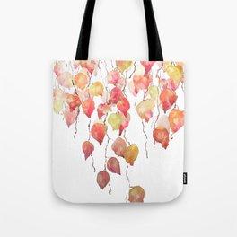 orange red crimson glory vine leaf watercolor Tote Bag