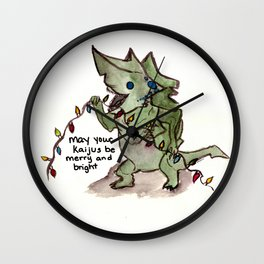 may your kaijus be merry and bright Wall Clock