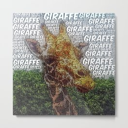 WordArt Giraffe Metal Print