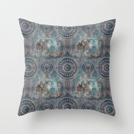 Elephant Ethnic Style Pattern Teal and Copper Throw Pillow