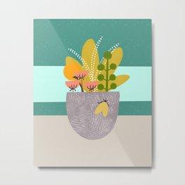 Succulent Garden with Moth Metal Print