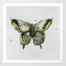 Yellow and Gray Butterfly Art Print