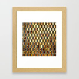 Black Gold Copper Tile Framed Art Print