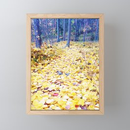 Yellow path in blue forest Framed Mini Art Print