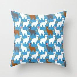 Pink Hair Alpacas I Throw Pillow