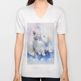 Cute Puppy and Kitten Watercolor Unisex V-Neck