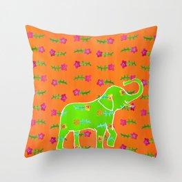 Elephant - green Throw Pillow