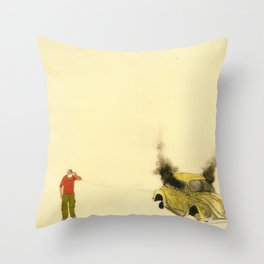 man listening a car burning Throw Pillow