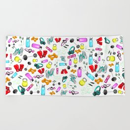 Work Out Items Pattern Beach Towel